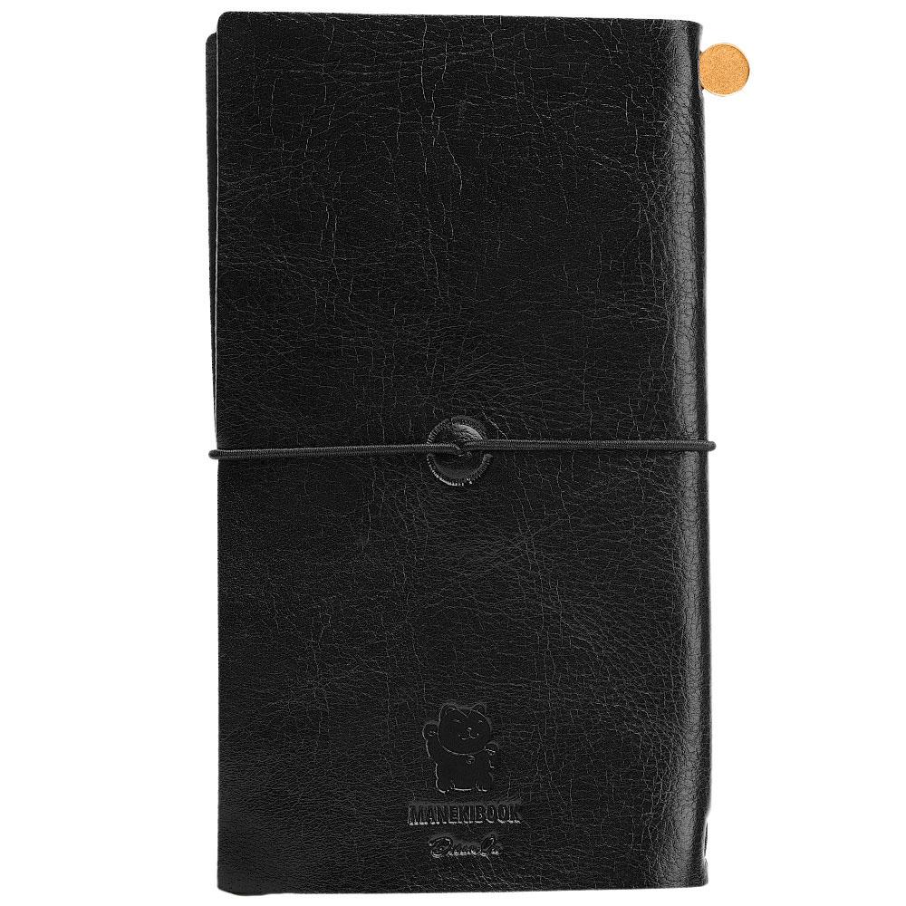 Записная книжка Manekibook из кожи черного цвета