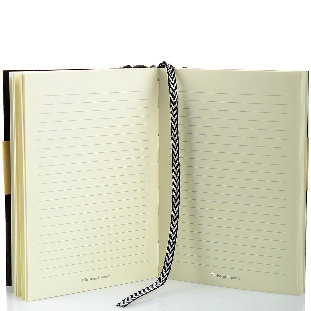 Блокнот Christian Lacroix Papier Paseo черный рельефный А6 с закладкой и эластичной зажимающей лентой