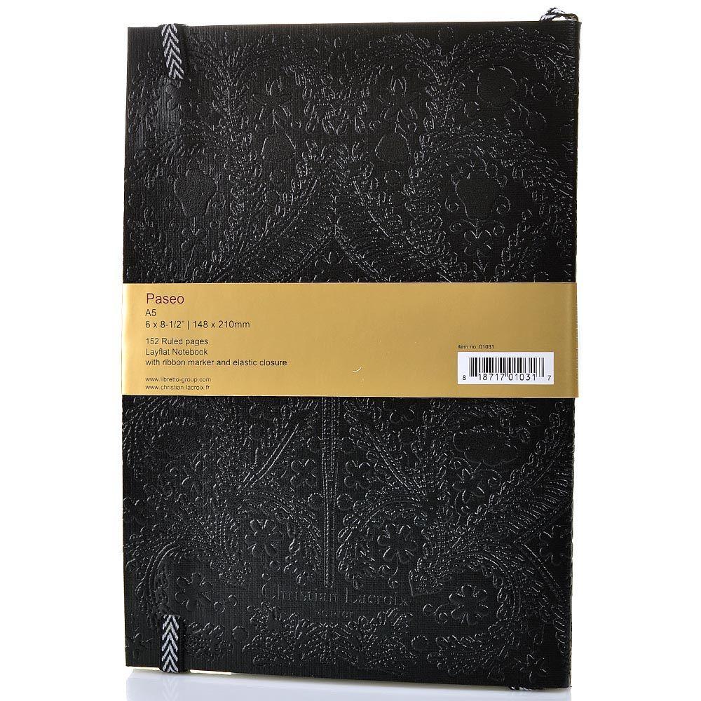Блокнот Christian Lacroix Papier Paseo черный рельефный А5 с закладкой и эластичной зажимающей лентой