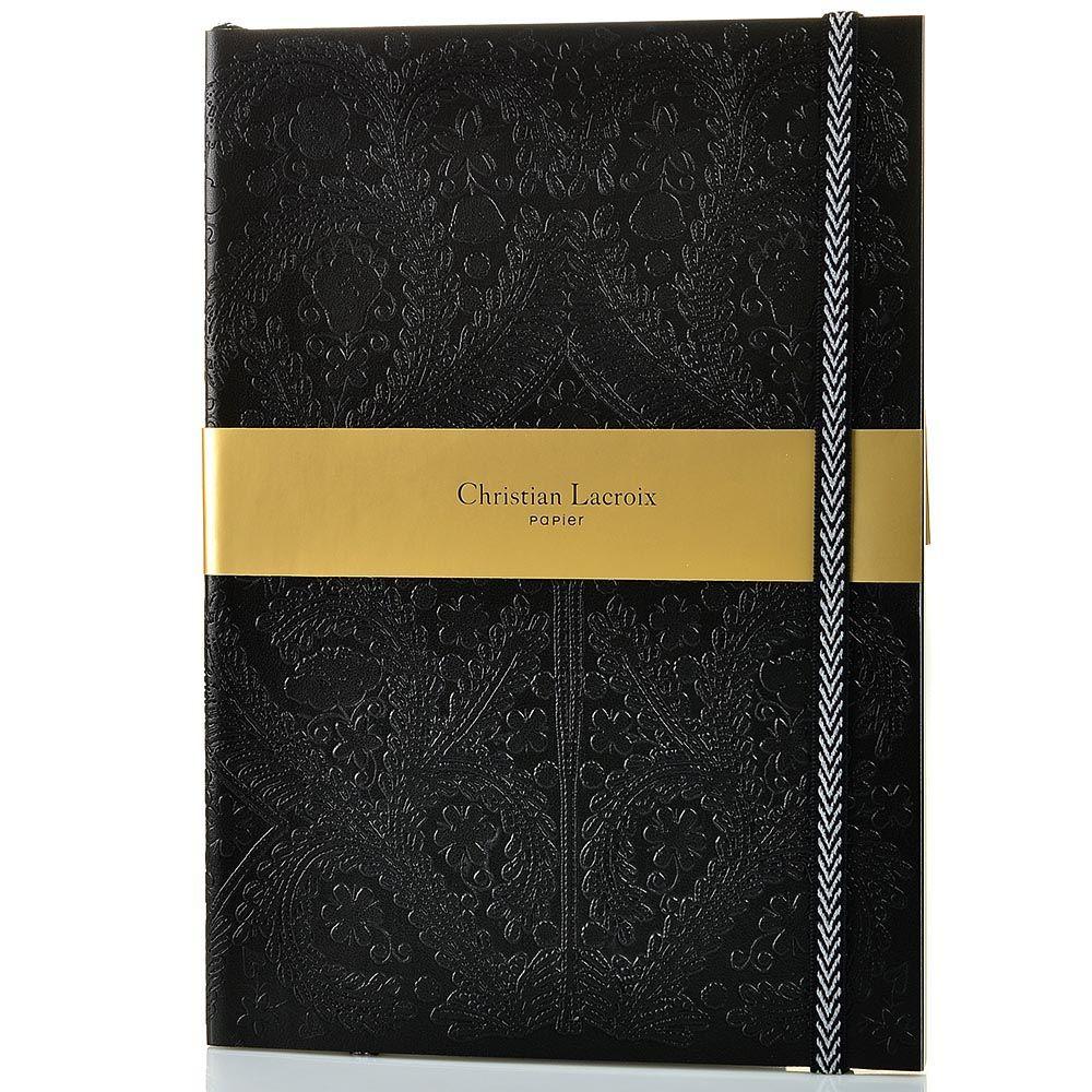 Блокнот Christian Lacroix Papier Paseo черный рельефный формата B5 с закладкой и эластичной зажимающей лентой
