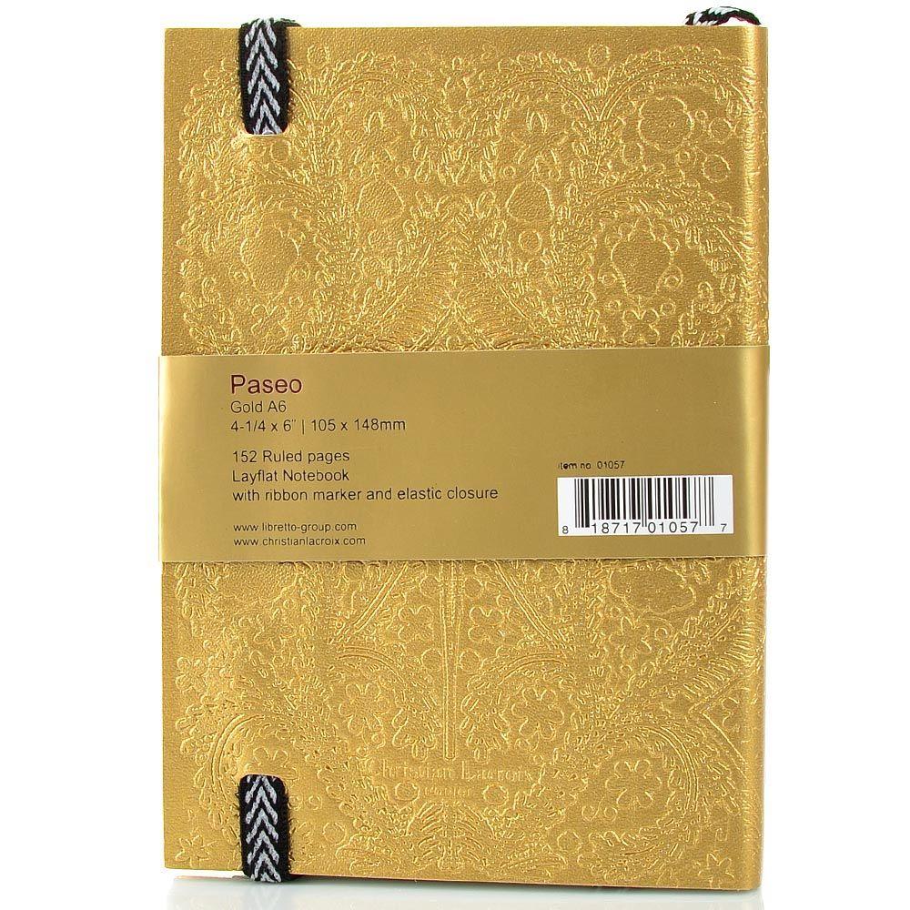 Блокнот Christian Lacroix Papier Paseo золотой рельефный А6 с закладкой и эластичной зажимающей лентой