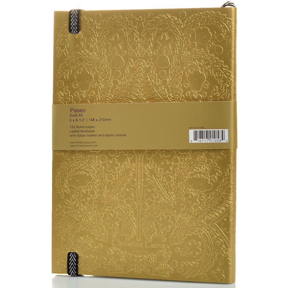 Блокнот Christian Lacroix Papier Paseo золотой рельефный А5 с закладкой и эластичной зажимающей лентой