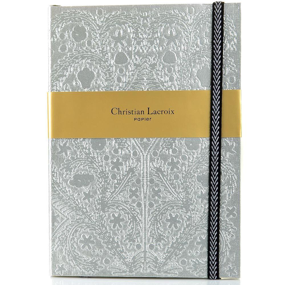 Блокнот Christian Lacroix Papier Paseo серебряный рельефный А5 с закладкой и эластичной зажимающей лентой