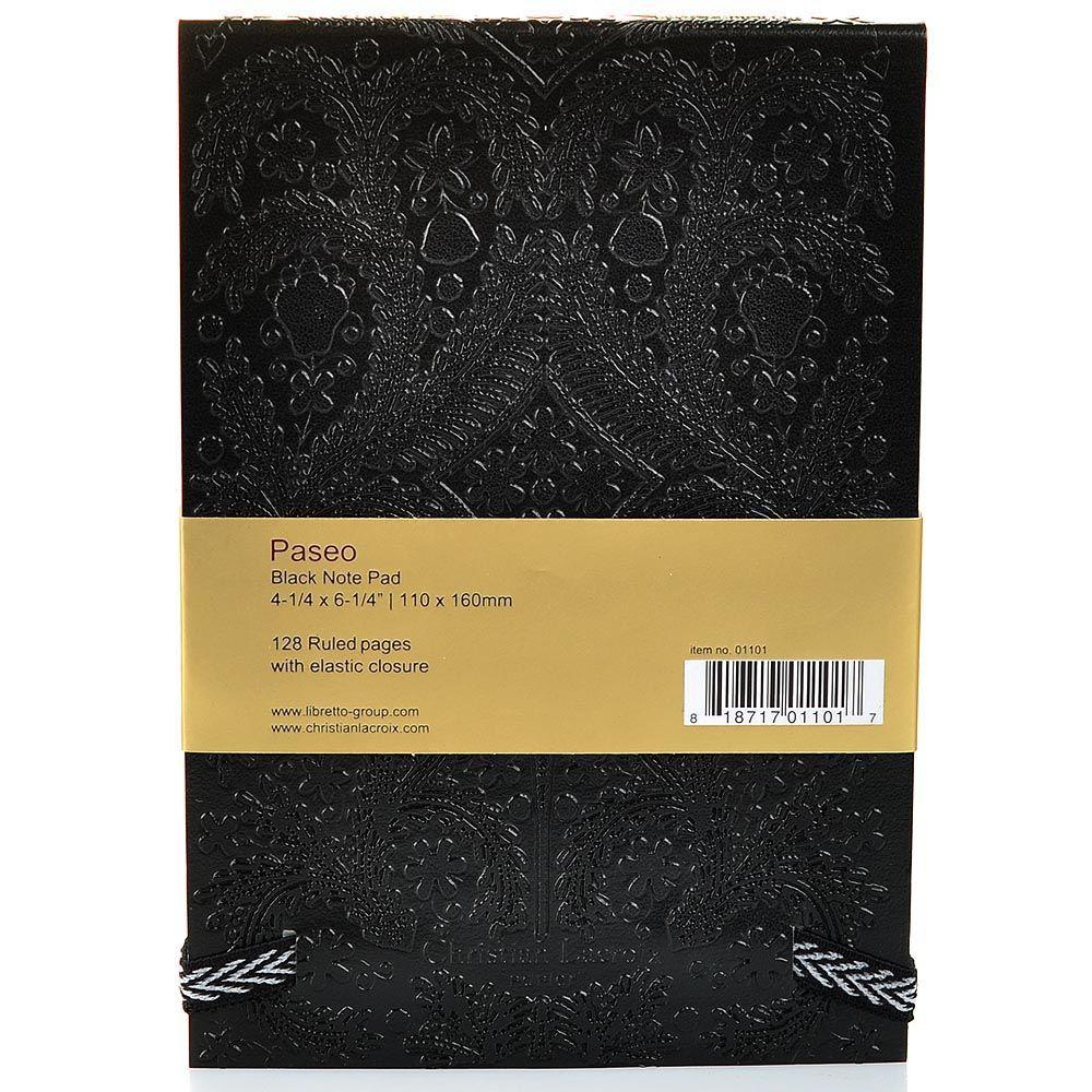 Блокнот Christian Lacroix Papier Paseo А6 с рельефным рисунком черный с эластичной зажимающей лентой
