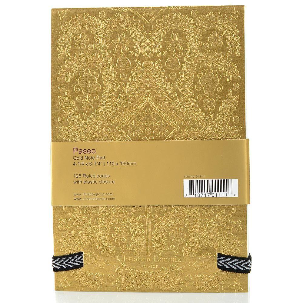 Блокнот Christian Lacroix Papier Paseo А6 с рельефным рисунком золотой с эластичной зажимающей лентой