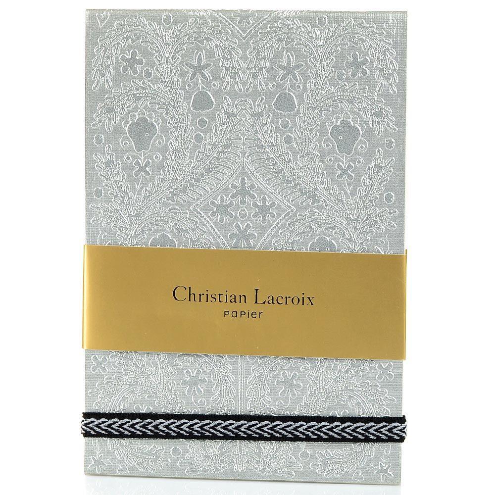 Блокнот Christian Lacroix Papier Paseo А6 с рельефным рисунком серебряный с эластичной зажимающей лентой