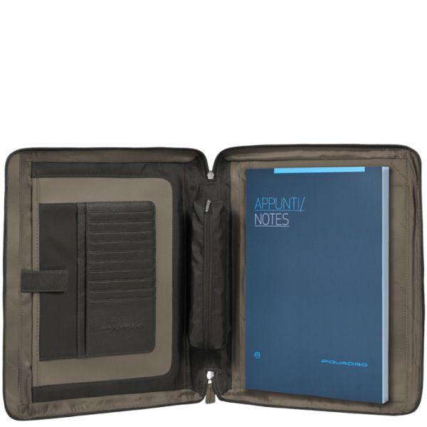 Папка-органайзер Piquadro Vibe кожаная на молнии с блокнотом и отделом для iPad