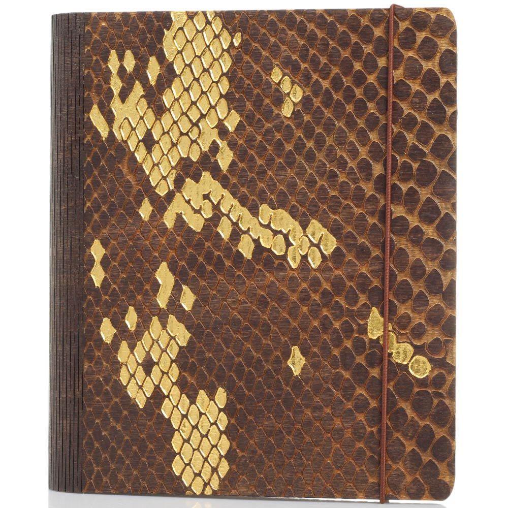 Блокнот с золотым тиснением GBwoodArt из натурального дерева с фактурой кожи питона А5