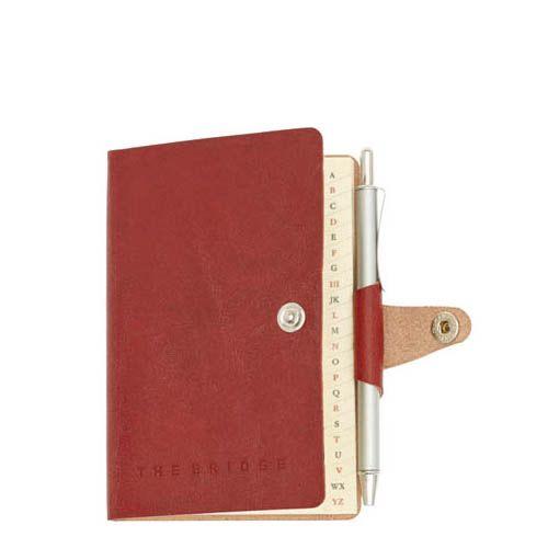 Алфавитная книжка с разметкой The Bridge Story Uomo кожаная красная с шариковой ручкой, фото
