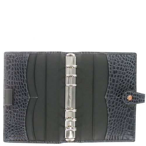 Органайзер Filofax Personal Osterley кожаный серый под крокодила, фото
