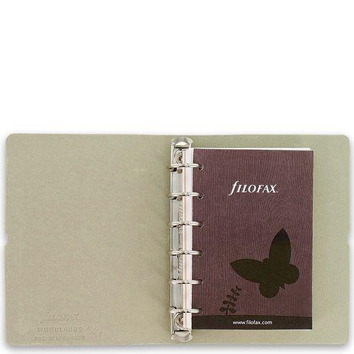 Компактный органайзер Filofax Pocket Woodlands с фактурой дерева и бабочкой, фото