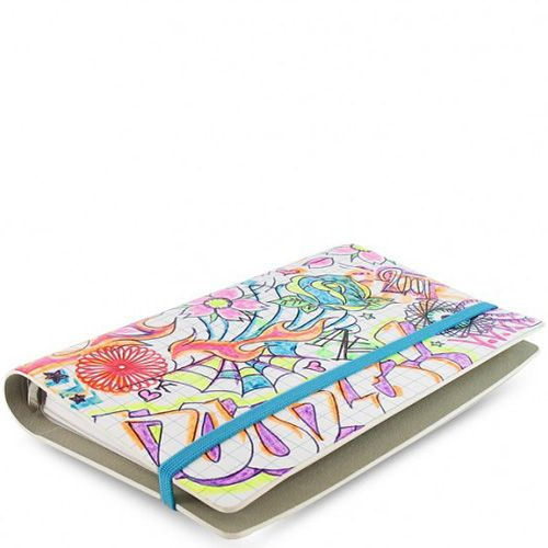 Персональный органайзер Filofax Compact Doodle белый в клетку и с цветным принтом, фото