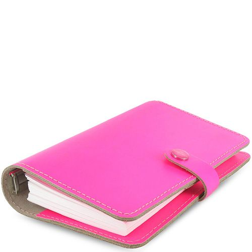 Органайзер Filofax Personal The Original кожаный флуоресцентного яркого розового цвета, фото
