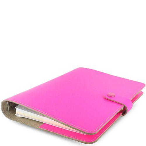 Профессиональный органайзер Filofax А5 The Original кожаный яркий флуоресцентно-розовый, фото