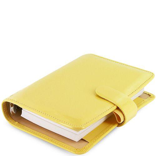 Компактный органайзер Filofax Pocket Patent желтый лаковый, фото