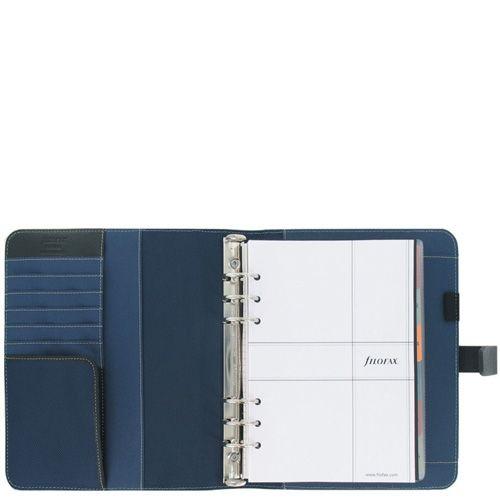 Профессиональный органайзер Filofax А5 Fusion в сочетании темно-синей микрофибры и черной кожи, фото