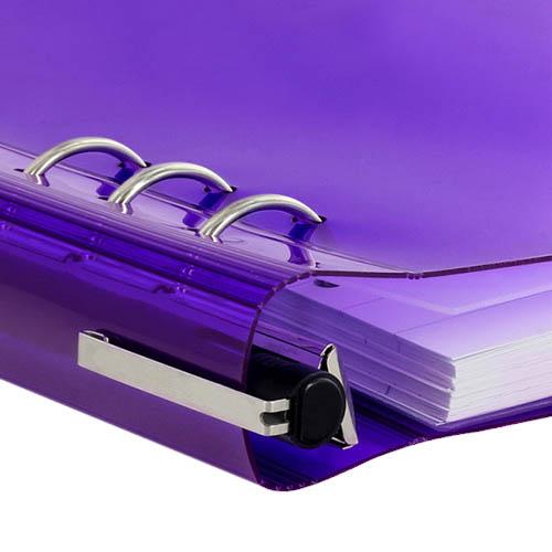 Фиолетовый практичный органайзер Filofax ClipBook A5 Gummy в мягкой прозрачной обложке , фото