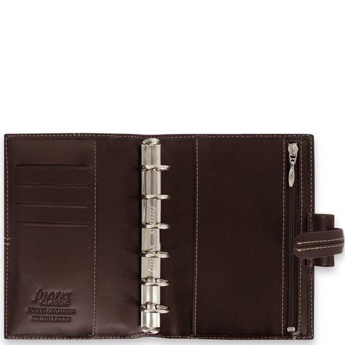 Карманный органайзер Filofax Pocket Classic кожаный шоколадно-коричневый, фото