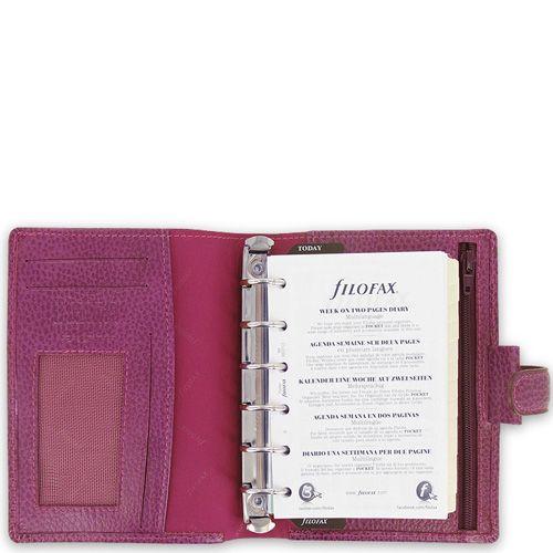 Компактный органайзер Filofax Pocket Finsbury кожаный ягодного цвета, фото