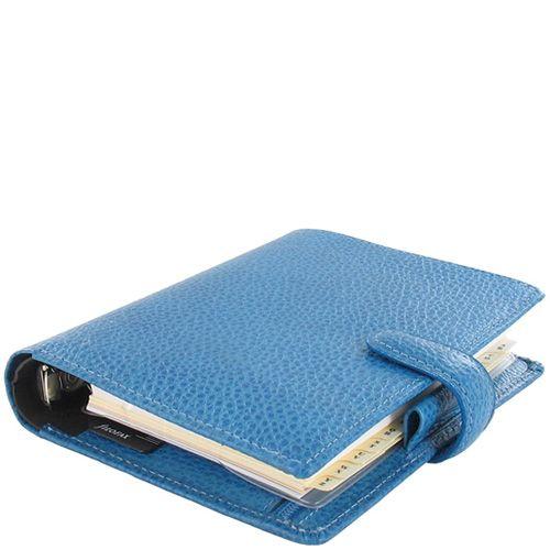 Компактный органайзер Filofax Pocket Finsbury кожаный голубой, фото