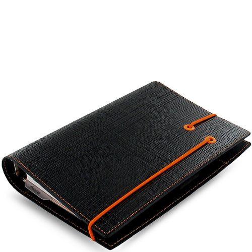 Органайзер Filofax Personal Apex черный с фактурой Сафьяно и оранжевой резинкой-креплением, фото