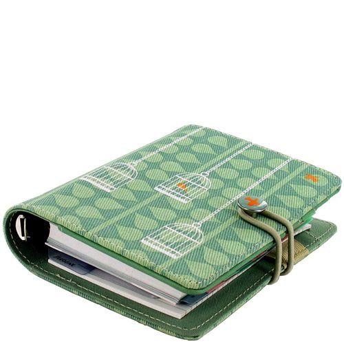 Маленький органайзер Filofax Pocket Swift текстильный зеленый с птичками, фото