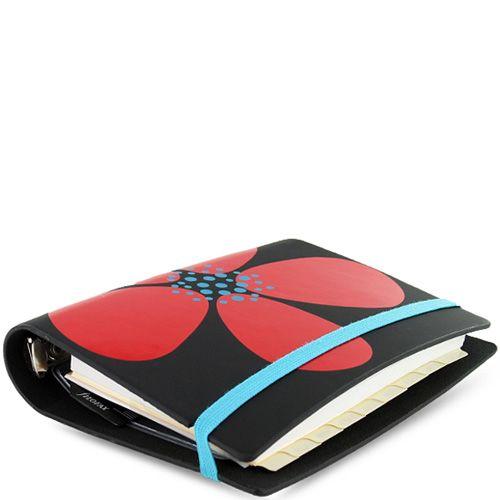 Маленький органайзер Filofax Pocket Petal черный с красным цветком на резинке, фото