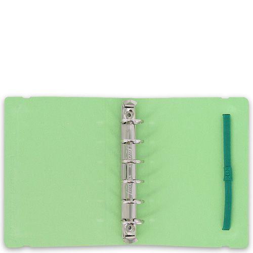 Маленький органайзер Filofax Pocket Petal светло-зеленый с розовым цветком на резинке, фото