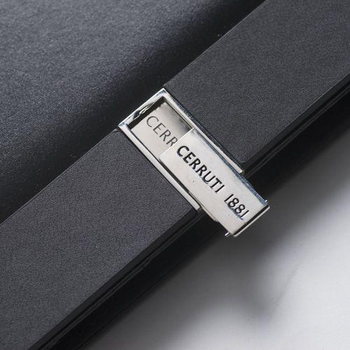 Блокнот Cerruti 1881 в черной дизайнерской обложке с флеш-картой USB2 на 4 Гб, фото