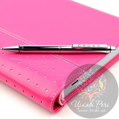 Блокнот Signature средний розовый с ручкой, фото