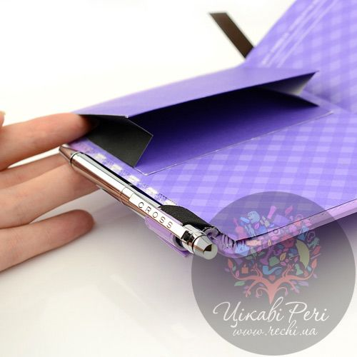 Блокнот Gingham малый фиолетовый с ручкой, фото