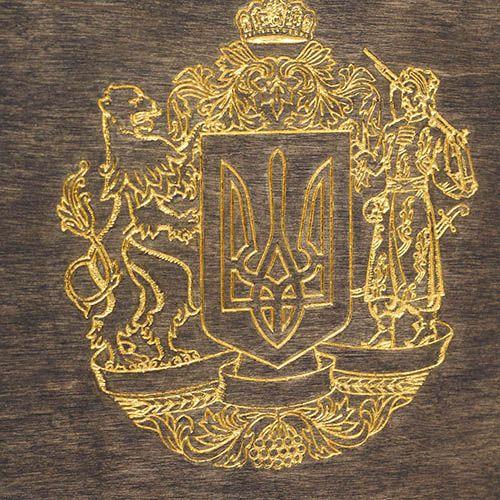 Блокнот из натурального дерева GBwoodArt с гербом тисненным золотом А5, фото