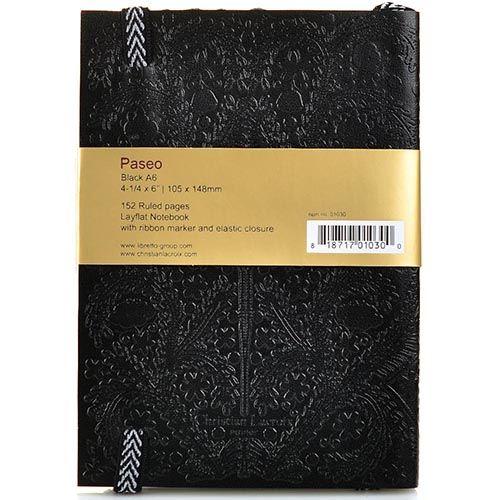 Блокнот Christian Lacroix Papier Paseo черный рельефный А6 с закладкой и эластичной зажимающей лентой, фото