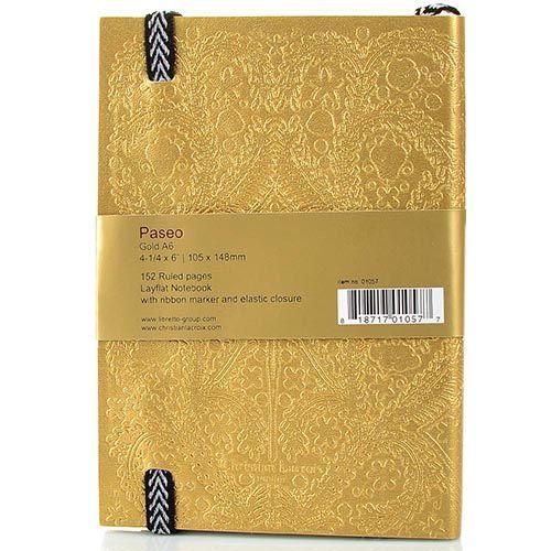 Блокнот Christian Lacroix Papier Paseo золотой рельефный А6 с закладкой и эластичной зажимающей лентой, фото