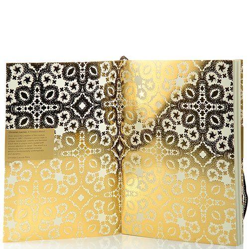 Блокнот Christian Lacroix Papier Paseo золотой рельефный А5 с закладкой и эластичной зажимающей лентой, фото