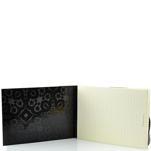 Блокнот Christian Lacroix Papier Paseo А6 с рельефным рисунком черный с эластичной зажимающей лентой, фото