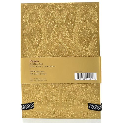 Блокнот Christian Lacroix Papier Paseo А6 с рельефным рисунком золотой с эластичной зажимающей лентой, фото