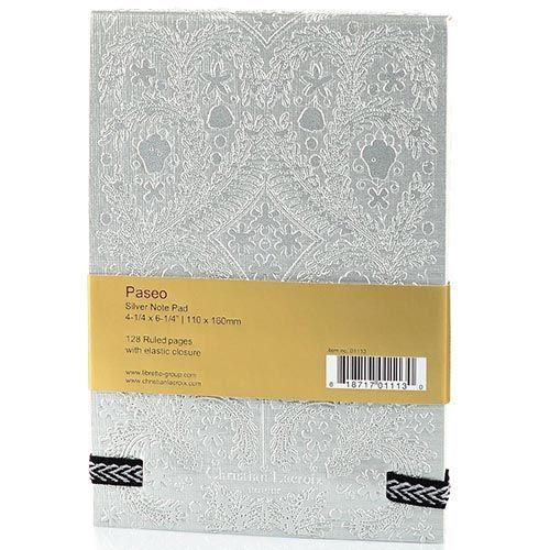 Блокнот Christian Lacroix Papier Paseo А6 с рельефным рисунком серебряный с эластичной зажимающей лентой, фото