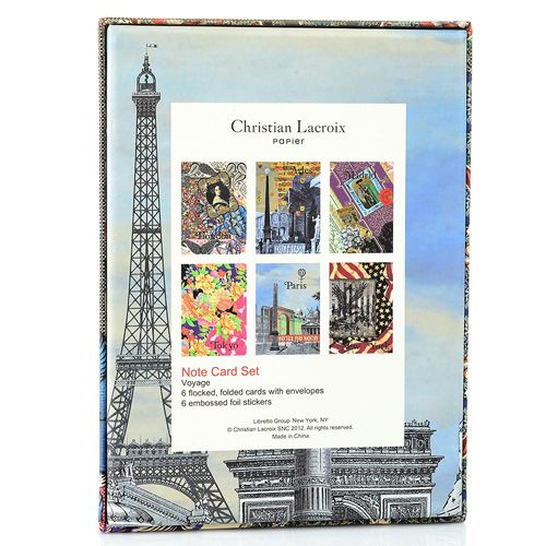 Набор открыток Christian Lacroix Papier Voyage с серебряными наклейками с логотипом, фото