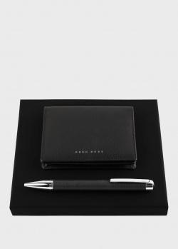 Набор Hugo Boss Storyline Black из шариковой ручки и визитницы, фото