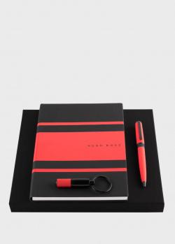 Набор Hugo Boss Gear Matrix Red из ручки с блокнотом A5 и кольца для ключей, фото
