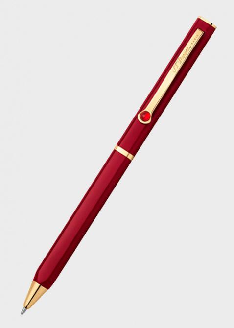 Бордовая шариковая ручка S.T.Dupont Karl Lagerfeld с позолотой и агатом, фото