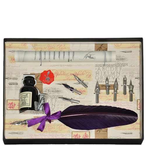Письменный набор La Kaligrafica фиолетового цвета с восьмью сменными перьями, фото
