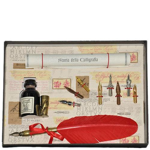 Письменный набор La Kaligrafica красного цвета с восьмью сменными перьями, фото