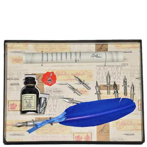 Письменный набор La Kaligrafica синего цвета с восьмью сменными перьями, фото