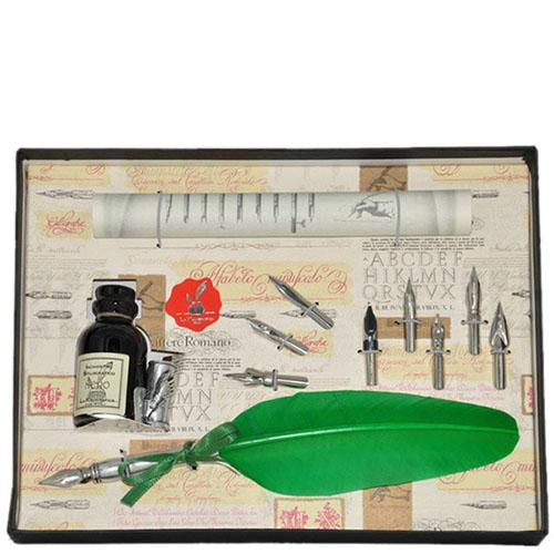 Письменный набор La Kaligrafica зеленого цвета с восьмью сменными перьями, фото