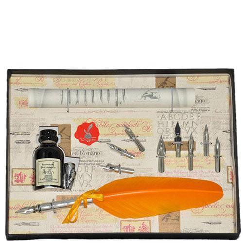 Письменный набор La Kaligrafica желтого цвета с восьмью сменными перьями, фото