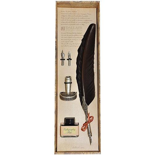Письменный набор коричневого цвета Dallaiti с двумя сменными перьями, фото
