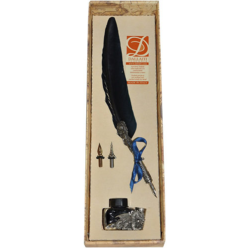 Письменный набор с двумя сменными перьями Dallaiti синий, фото