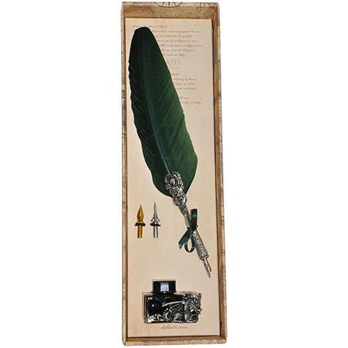 Письменный набор с двумя сменными перьями Dallaiti зеленый, фото